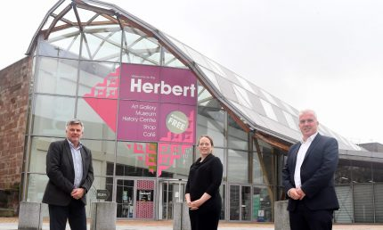 Pictured (left to right): Paul Breed, Francis Ranford (both Culture Coventry) and Martin Gallagher (Deeley Construction)