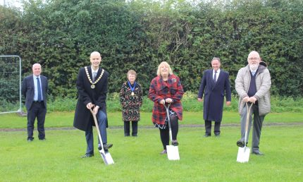 Pictured from left to right Martin Gallagher (Managing Director Deeley Construction), Councillor Judy Falp (Whitnash Town Council), Councillor Tony Heath (Whitnash Town Council), Councillor Pam Redford (Vice-Chairman Warwick District Council), Councillor Andrew Day (Leader, Warwick District Council).