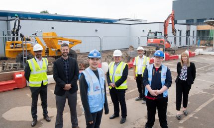 PICTURE CAPTION: From left to right - Steve Turner (Deeley Construction), David Lisowski (Riverbank Academy), Jamie Farndon, Martin Gallagher (Deeley Construction), Steve Adams (Deeley Construction), Ryan Ilsley and Marie Manusell-Stewart.